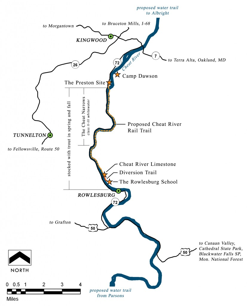 Cheat River rail-trail area map